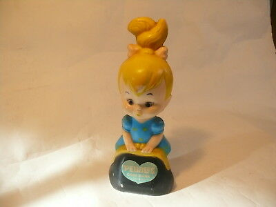 "1960's Vintage Flintstones Blond ""Pebbles"" Coin Bank Transogram"