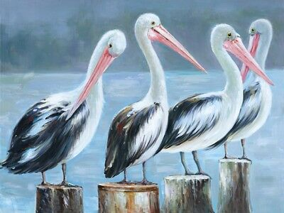 New Pelican Four Pelicans Canvas Print Art Painting Wall Home Decor 100x70cm