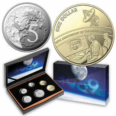 2019 6-Coin Proof Year Set 50th Anniversary Moon Landing Special 5c $1 Australia