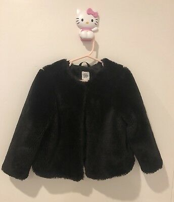 Gap Girls Faux Fur Coat Jacket Black Size 5