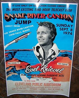 EVEL KNIEVEL Snake River Canyon Jump Promo Poster/Ad  X-2 Sky Cycle Evil