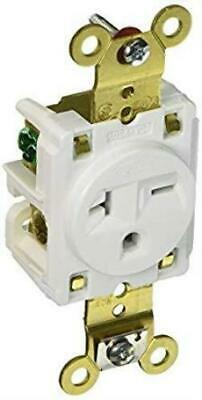Hubbell HBL5461W Single Receptacle, 20A, 250V, White, Impact Resistant