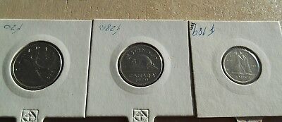 Canada Coins - 25, 10, & 5 Cent Coins - 3 Coins