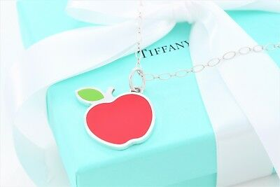"Tiffany & Co Sterling Silver Red Enamel Apple Charm Pendant 18.5"" Oval Necklace"