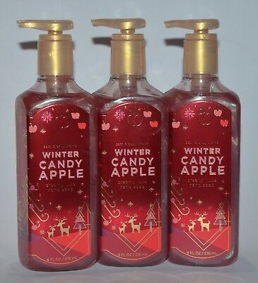 3 Bath & Body Works Winter Candy Apple Creamy Luxe Hand Soap Wash Silk 8 Oz Red
