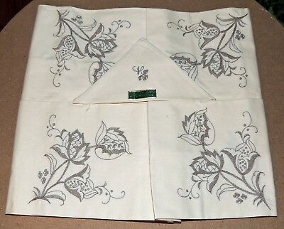 SUPERB! Vintage Madeira Tablecloth w/4 Matching Napkins Ivory & Taupe Embroidery