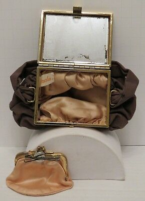 ICONIC Vintage 1930-1940 Brown Compact Purse w/Mirror & Coin Purse Graceline