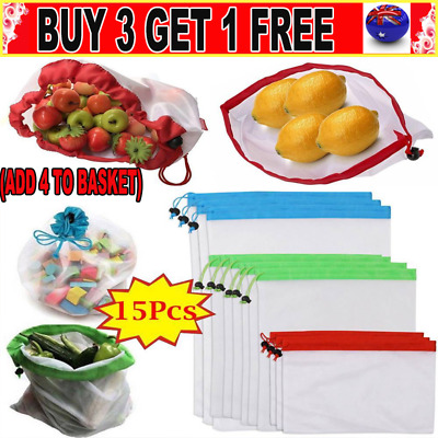 15x Eco Friendly Reusable Mesh Produce Bags Superior Double-Stitched Strength GN