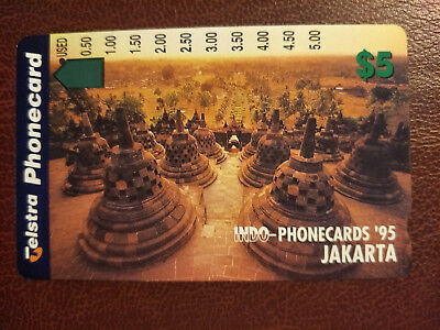 Used $5 1 Hole Indo- Phonecards '95 Jakarta Prefix 1091 Green $5