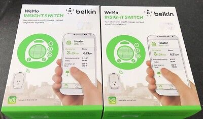 2 x Wemo Insight Switch Works With google home Amazon Alexa And IFTTT F7C029au