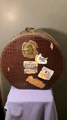 Vintage 1950 s European Hat Case with stickers Faux Crocodile Skin