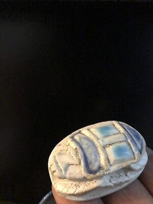 Rare Ancient Egyptian Blue Scarab Pendant 26th DYN 680 BC
