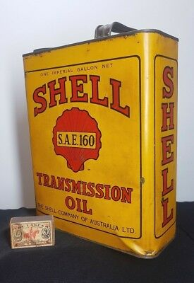 VINTAGE AUSTRALIAN SHELL SAE 160 CAR TRACTOR  TRANSMISSION OIL 1 imp gallon TIN