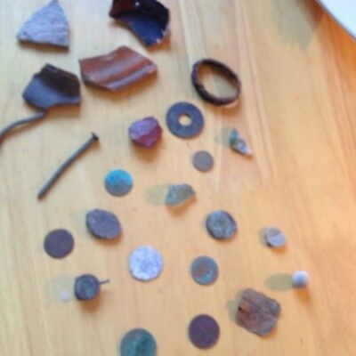 Joblot of metal detecting finds from a friends field in Lichfield staffordshire.