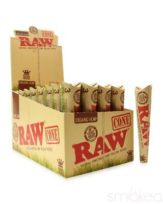 AUTHENTIC Raw Rolling Paper Pre-Rolled Organic Hemp Cones KING SIZE 4 PACKS