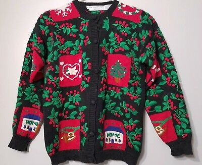 The Eagles Eye Classic Button Up Christmas Sweater Size Small