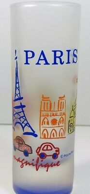 Paris Eiffel Tower Tall Shot Glass Red Orange Blue Frosted