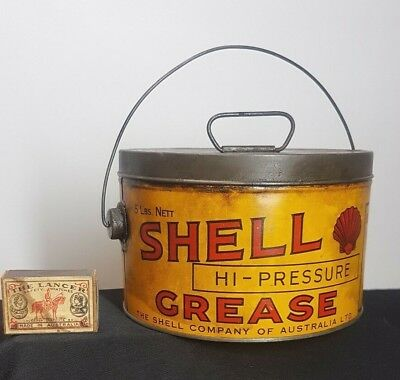 ANTIQUE AUSTRALIAN SHELL MOTOR OIL Co HI-PRESSURE GREASE 5lb LIDDED TIN,PAIL