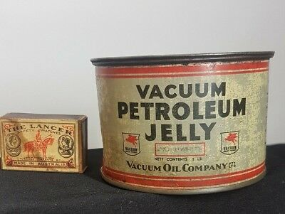 VINTAGE AUSTRALIAN VACUUM MOTOR OIL Co MOBIL PETROLEUM JELLY 1lb LIDDED TIN ,CAN