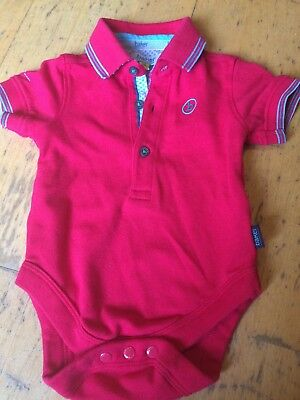 Ted Baker Baby Boys Red Polo Shirt Bodysuit 3-6 Months