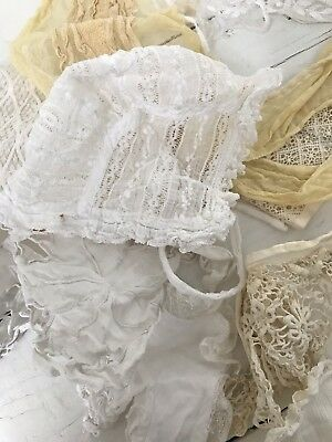 Job Lot Of Old Lace Fabric Baby Bonnet And Collar Victorian / Edwardian