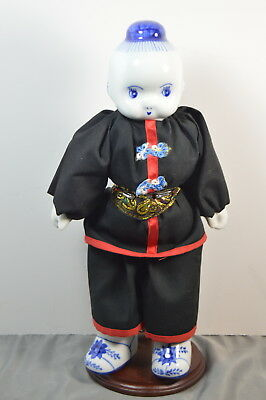 "Vintage Asian/Japanese/Chinese 12"" Doll,  Blue White Porcelain Head, Hands and B"