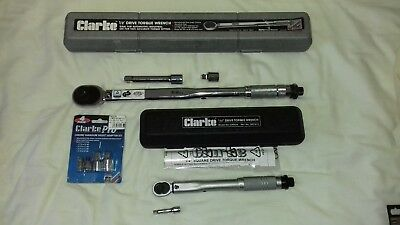 Clarke 1/2'' and 1/4'' Drive Torque Wrenches plus socket adaptor set.