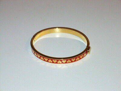 HALCYON DAYS Red Hearts Enamel Gold Plate Hinged Bangle