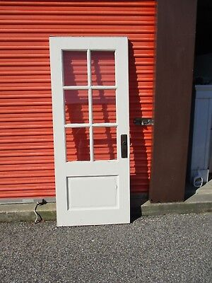 Exterior Antique Wood Door 6 Panes Glass 32 X 79 Can Ship!!!!
