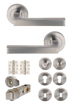 LINEA Satin Chrome Lever on Rose Door Handles Sets/ Accessories / Latch / Hinges