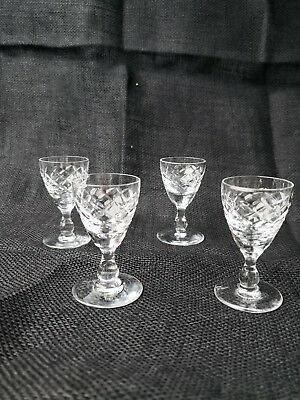 Set of 4 cut glass crystal port / sherry glasses with star base