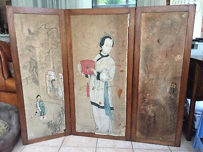 A large Chinese hardwood screen