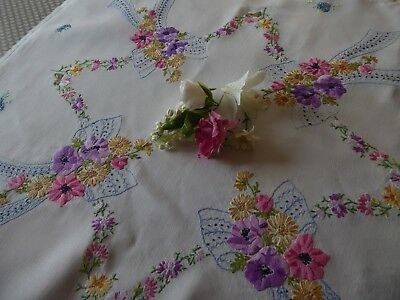 Vintage Hand Embroidered Tablecloth=Exqusite Ribboned Floral Bouquets