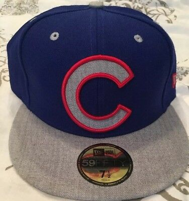 new product 2c9c5 213e5 Chicago Cubs New Era NWT MLB Full Heather 7 1 2 Fitted 59FIFTY Cap Hat