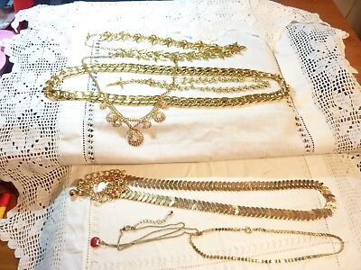 vintage pre-worn job lot of 7 pieces gold plated costume jewellery