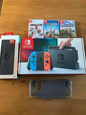 Nintendo Switch 32GB Neon Red/Neon Blue Console With Case Controller and 3 Games
