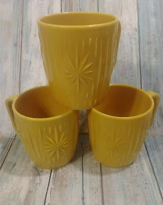 Vintage Atomic Starburst Mustard Yellow Plastic Mugs Set of 3