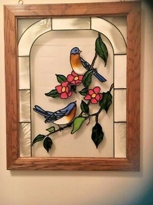 Vintage  Stained Glass Window Panel Picture Wood  Birds and  Flowers