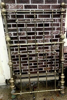 Two Gorgeous Matched Pair Of Antique Solid Brass Beds W/ Iron Rails Curved Brass