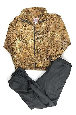 Women's Vintage Tracksuit Set Swishy Cheetah Print Windbreaker Small Retro Party