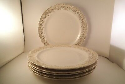 Vintage French Saxon China Warranted 22K Gold Set of 6 Lunch Dinner Plates