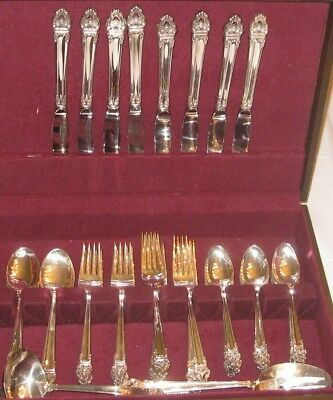 53 Pc Svc for 8 REED & BARTON Emperor/New Emperor Silver Plate Flatware Set EUC