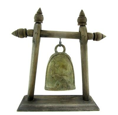 Antique Elephant Buddhist Bronze Temple Bells with Wooden Stand Thailand 11""