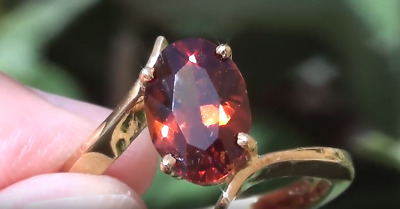 Malaya Garnet 2.64ct,18ct Solid Gold Ring,Natural,VS,Video,Resizable 6-9,Now 7.5