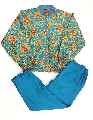 Women's Vintage Track Suit Set Size Large 100% SILK Swishy Nylon Jacket Track
