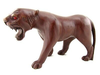 """Hand Carved Wooden Cougar Statue Painted African Lion Sculpture Lioness 13"""""""
