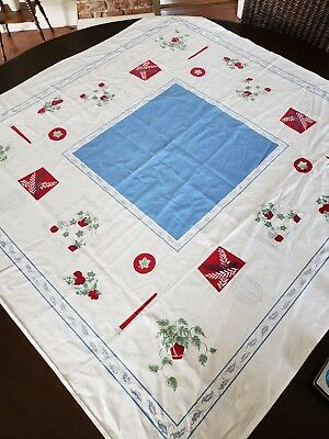 Vintage Tablecloth Red Blue Tablecloth Ivy Mid Century