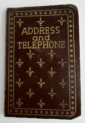 VTG Small Pocket Size Address and Telephone Book Brown Fleur De Lys Front Cover