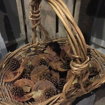 Primitive Fire Starters Fireplace Basket Bowl Fillers Pine Cones Winter Cabin