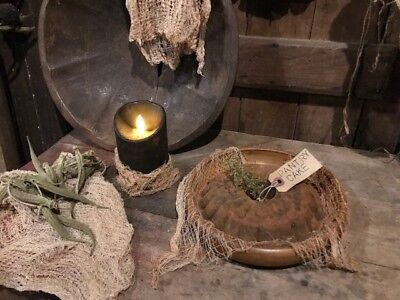 Primitive Pantry Cake & Wood Plate Gathering Early Look Grubby Blackened Wax